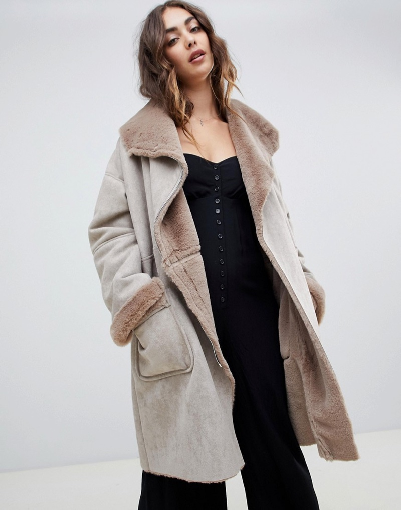 Religion Oversized Aviator Jacket Faux Fur Collar $277