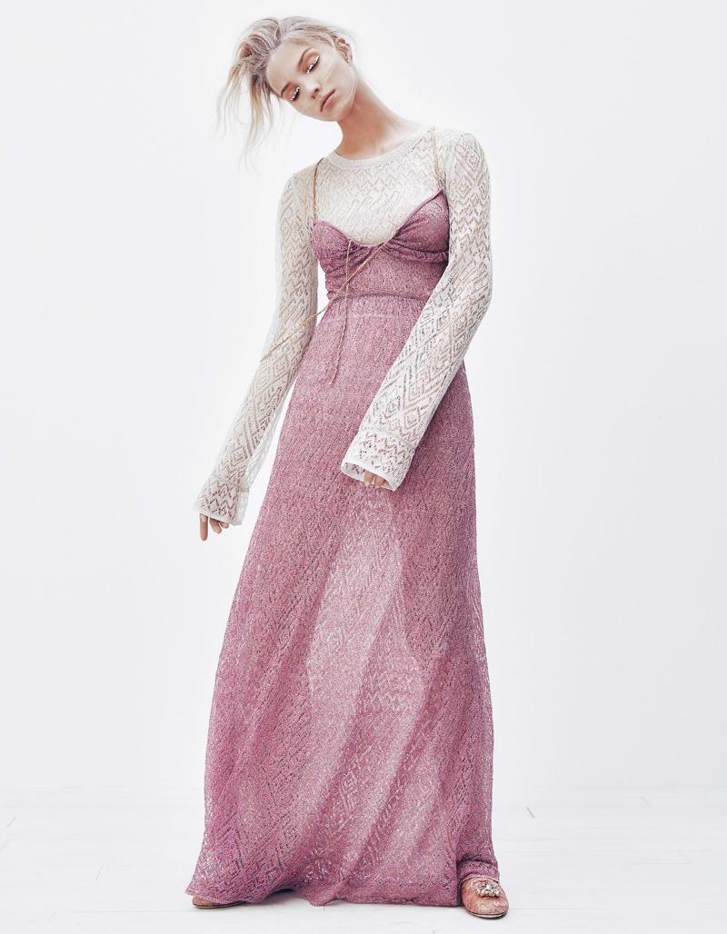 Sasha Luss wears Missoni knit top and maxi dress