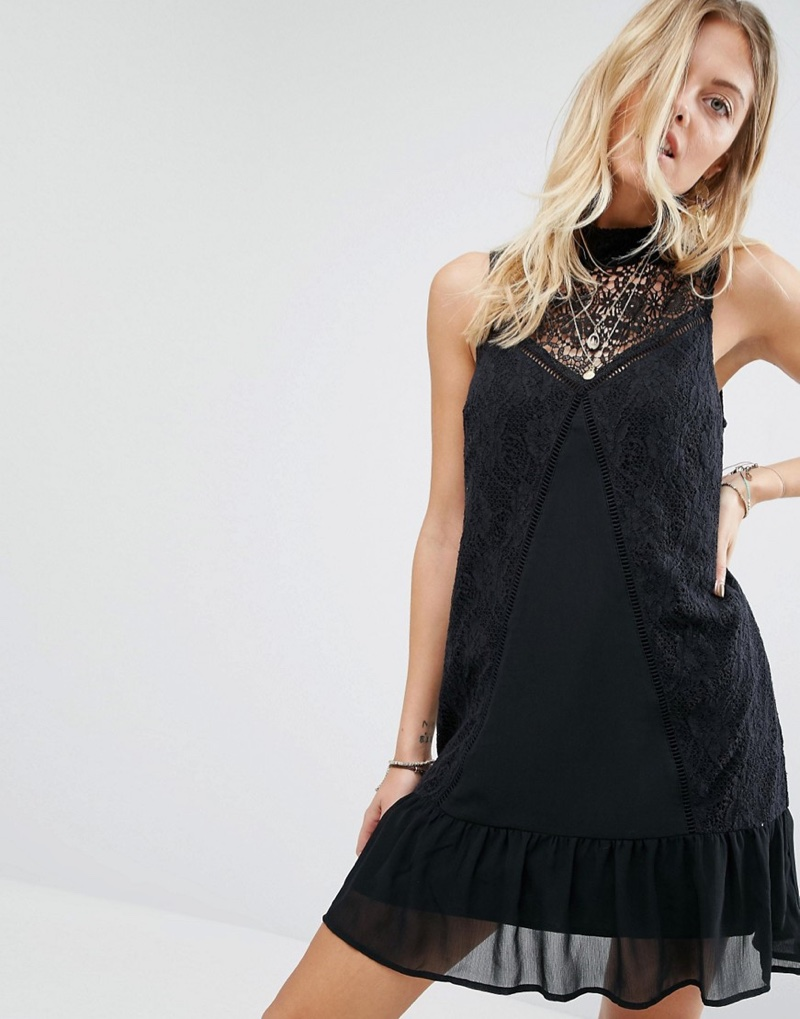 Abercrombie & Fitch Sheer Lace High Neck Dress