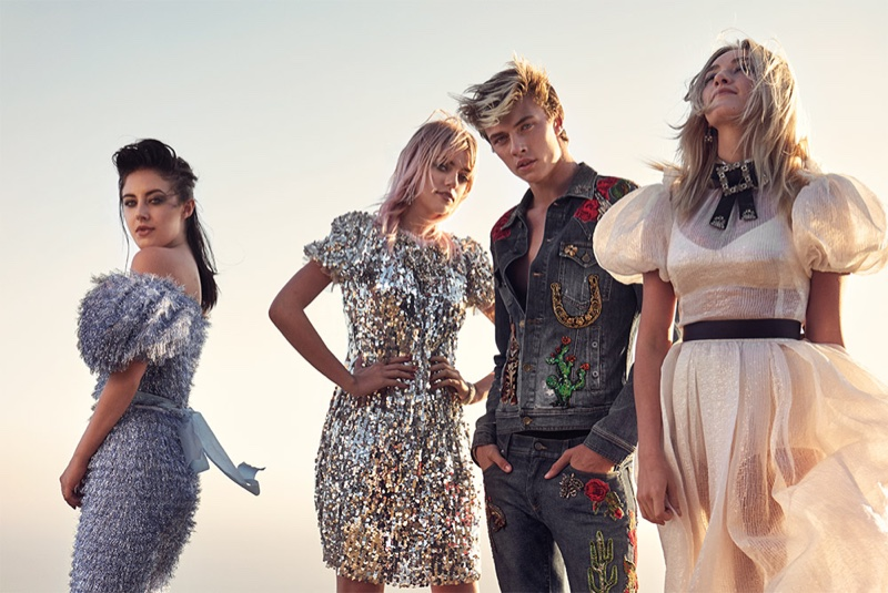 The Atomics including Pyper America, Starlie, Daisy Clementine and Lucky Blue Smith pose in Dolce & Gabbana