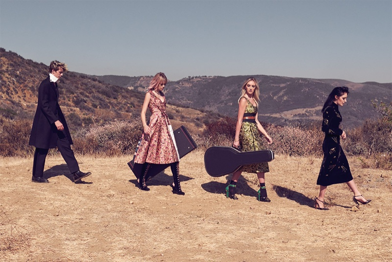 Posing in the desert, the Smith siblings share a familial resemblance in Prada looks
