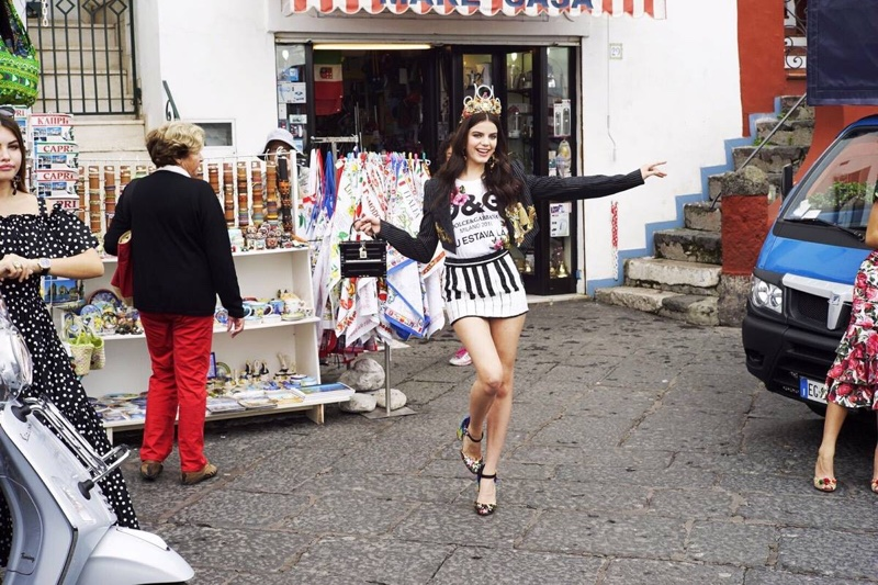 Sonia Ben Ammar strikes a pose behind-the-scenes at Dolce & Gabbana's spring 2017 campaign shot in Italy