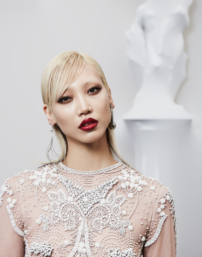 Getting her closeup, Soo Joo Park wears bejeweled top from Jean Paul Gaultier