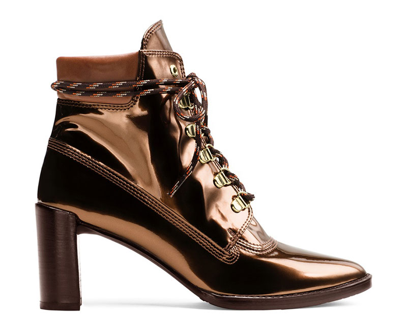 Stuart Weitzman x Gigi Hadid The Gigi Boot in Glass Leather Copper