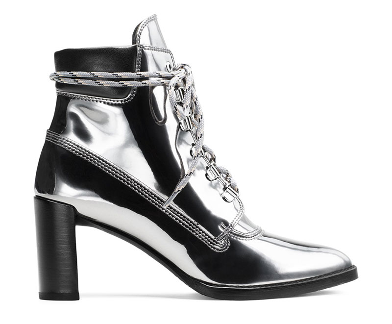 Stuart Weitzman x Gigi Hadid The Gigi Boot in Specchio Leather Iron Gray