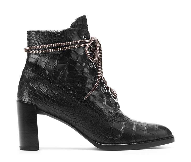 Stuart Weitzman x Gigi Hadid The Gigi Boot in Croco Embossed Leather Black