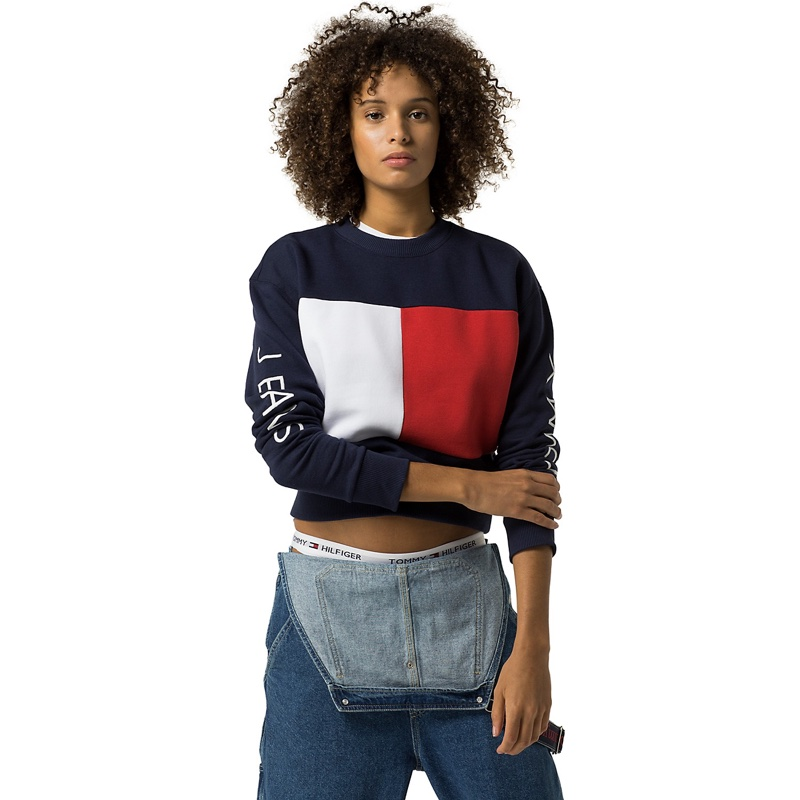 Tommy Jeans Big Flag Cropped Sweatshirt