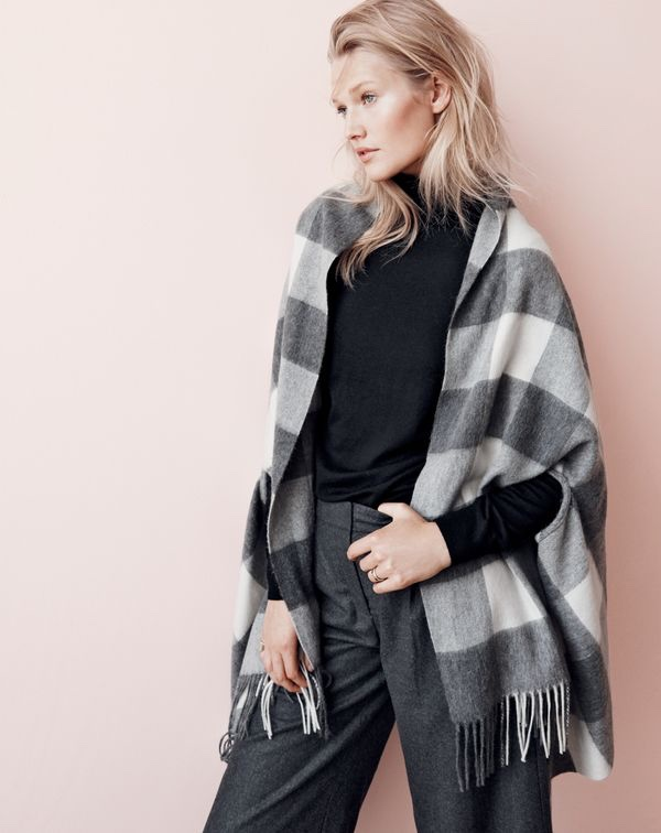 J. Crew Cape-Scarf in Oversized Plaid