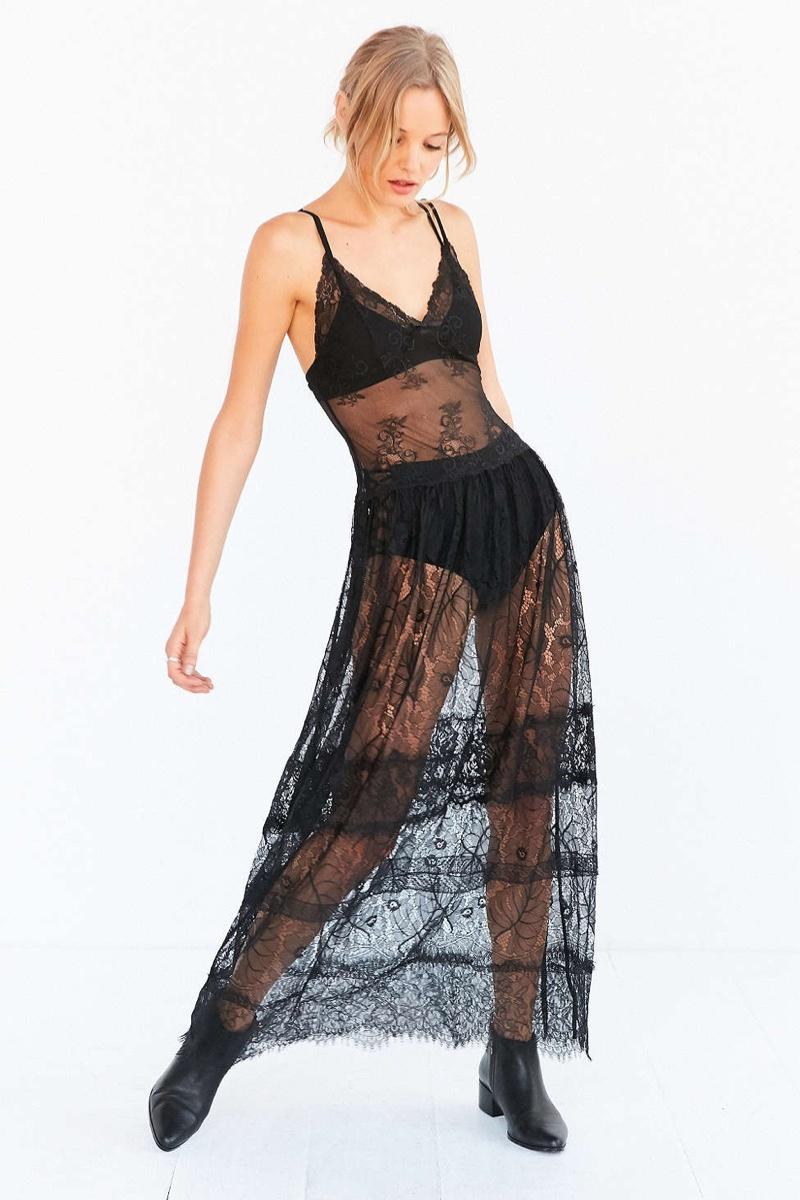 Kimchi Blue Tribrulee Lace Midi Slip Dress