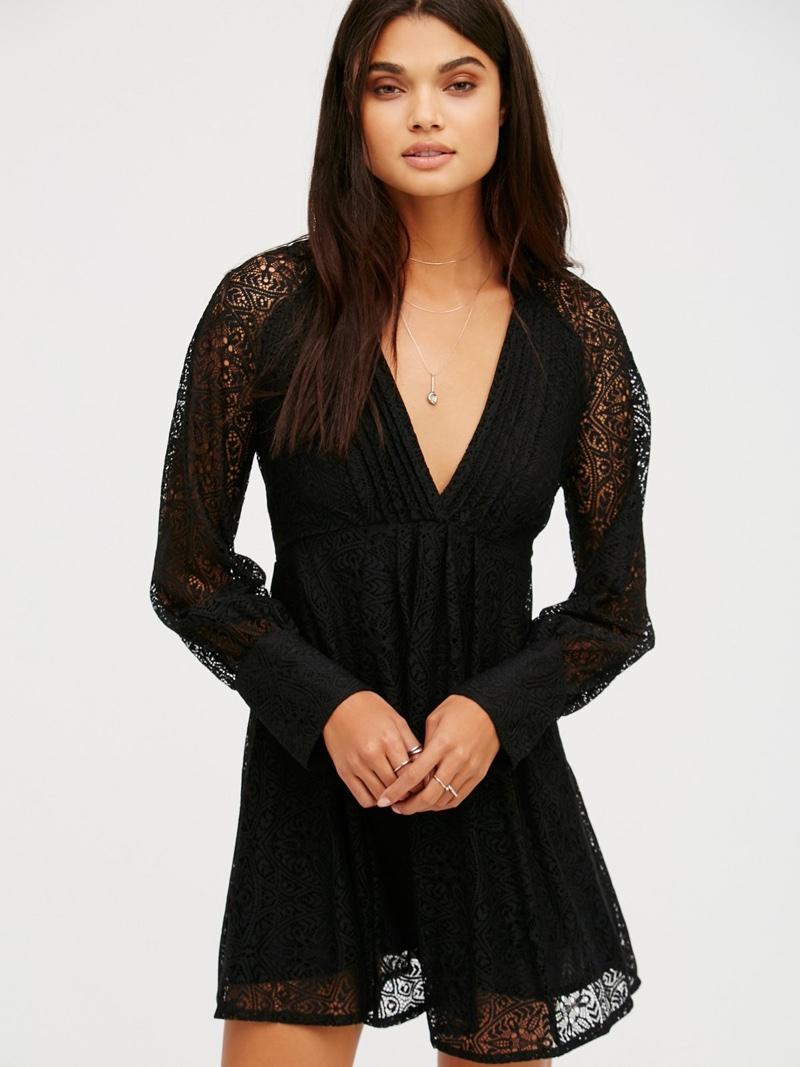 Free People Uptown Black Lace Mini Dress
