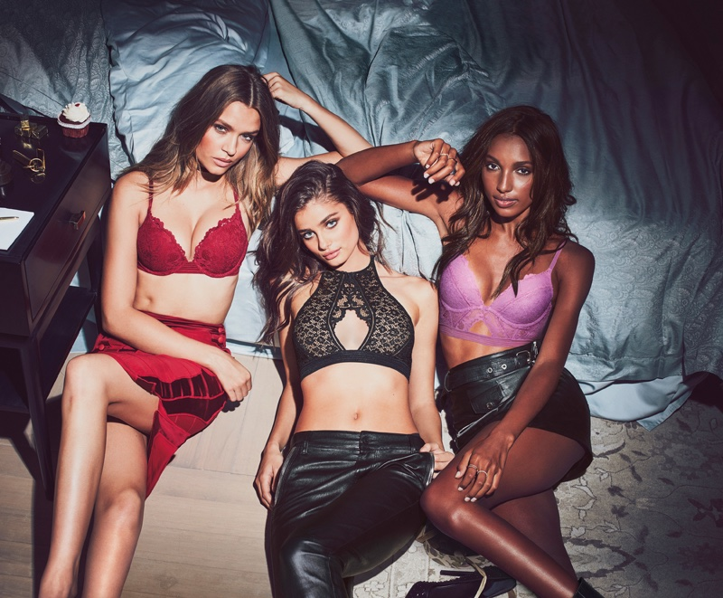 Josephine Skriver, Taylor Hill and Jasmine Tookes pose in Victoria's Secret Sexy Little Things photoshoot