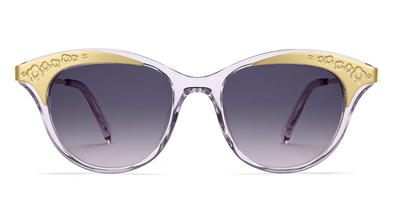 Warby Parker x Leith Clark Christabel Sunglasses in Lavender Crystal with Violet Gradient Lenses $145