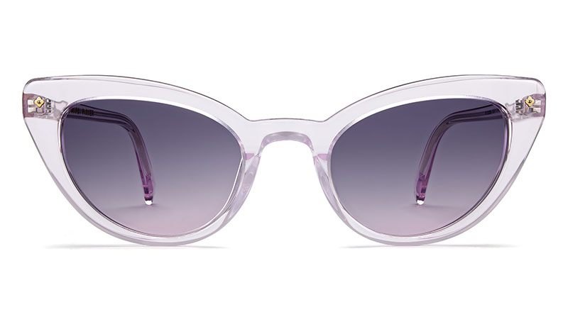 Warby Parker x Leith Clark Evelina Sunglasses in Lavender Crystal with Violet Gradient Lenses $145