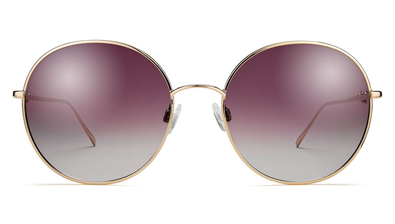 Warby Parker x Leith Clark Wilding Sunglasses in Polished Gold with Flash Mirrored Violet Lenses $145