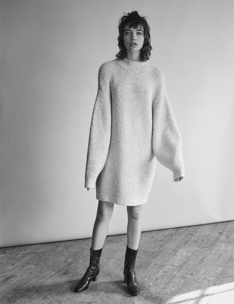 Zara Brioche Stitch Dress and Medium Heel Zipped Ankle Boots