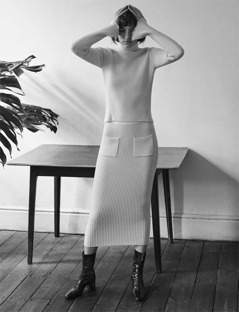 Zara Ribbed Sweater, Ribbed Pencil Skirt and Medium Heel Zipped Ankle Boots