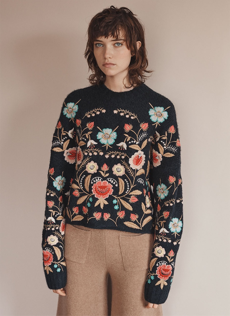 Zara Embroidered Sweater and Printed Palazzo Trousers