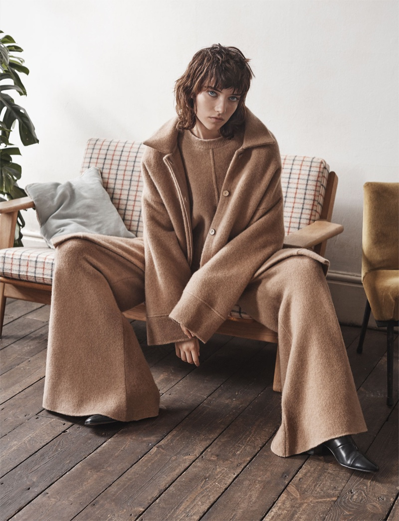 Zara High Collar Coat, Printed Palazzo Trousers and Medium Heel Zipped Ankle Boots