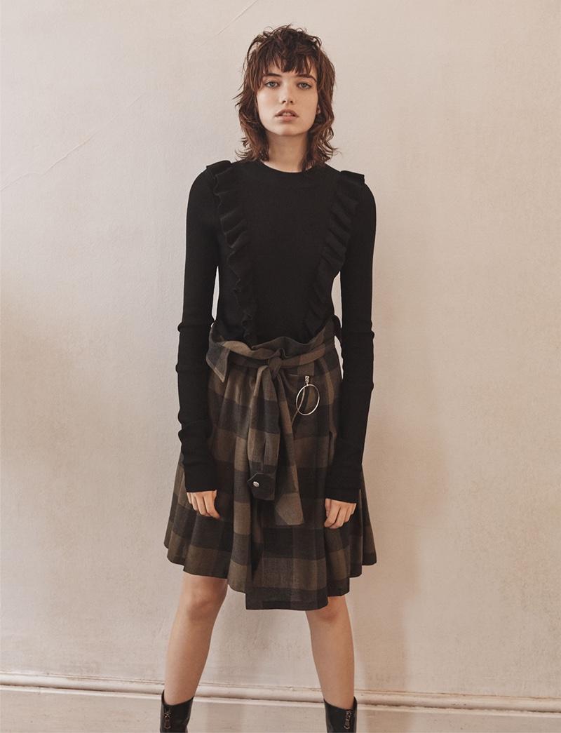 Zara Flounce Sweater, Plaid Skirt and Medium Heel Zipped Ankle Boots