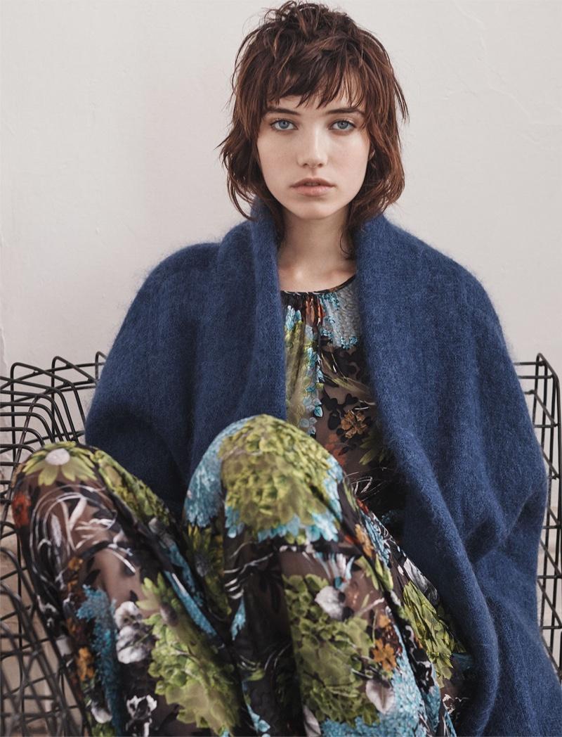 Zara Floral Midi Devore Dress