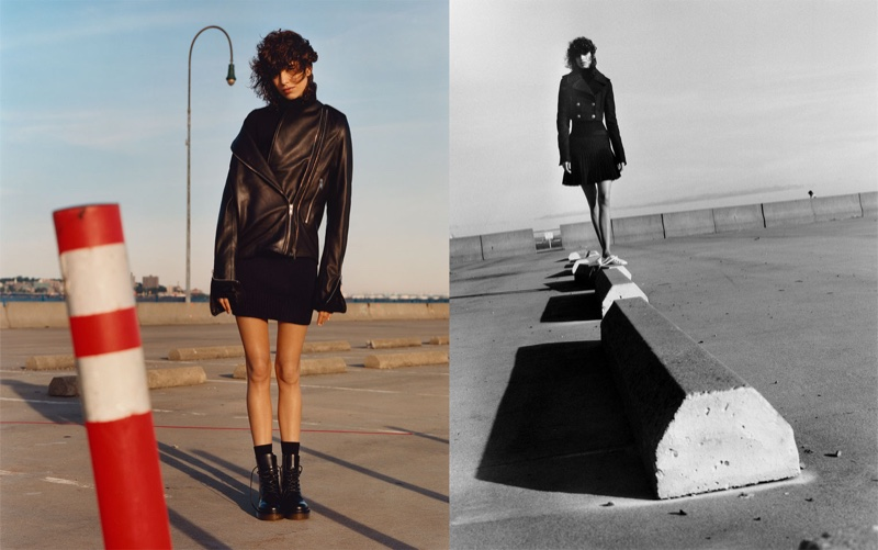 (Left) Zara Studio Leather Jacket, Short Dress and Leather Lace-Up Ankle Boots (Right) Zara Studio Three Quarter Length Coat, Polo Neck Cashmere Sweater, Mini Skirt and Flat Lace-Up Leather Shoes