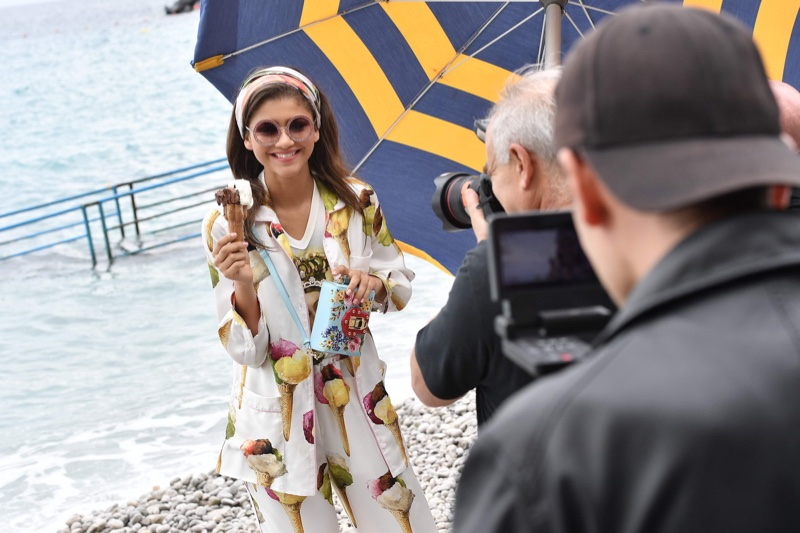 Zendaya Coleman poses in Capri, Italy behind the scenes at Dolce & Gabbana campaign