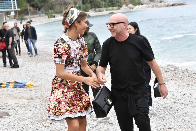 Zendaya Coleman and Domenico Dolce behind-the-scenes at Dolce & Gabbana's spring 2017 campaign