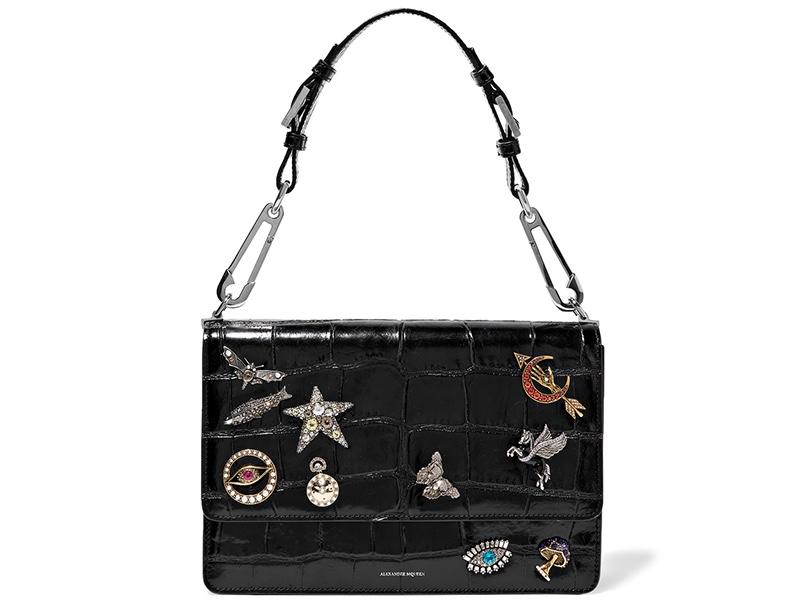 Alexander McQueen Embellished Croc Effect Leather Shoulder Bag $4,895