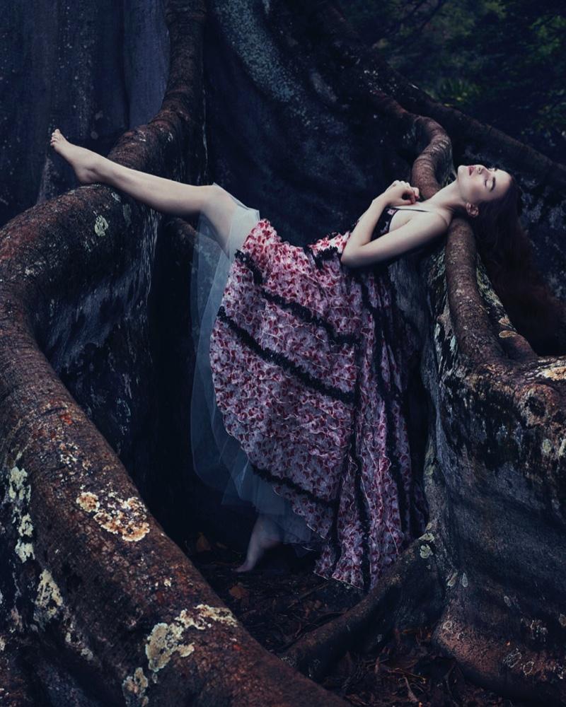 Posing in a tree, Ali Michael  models Giamba silk organza and lace dress