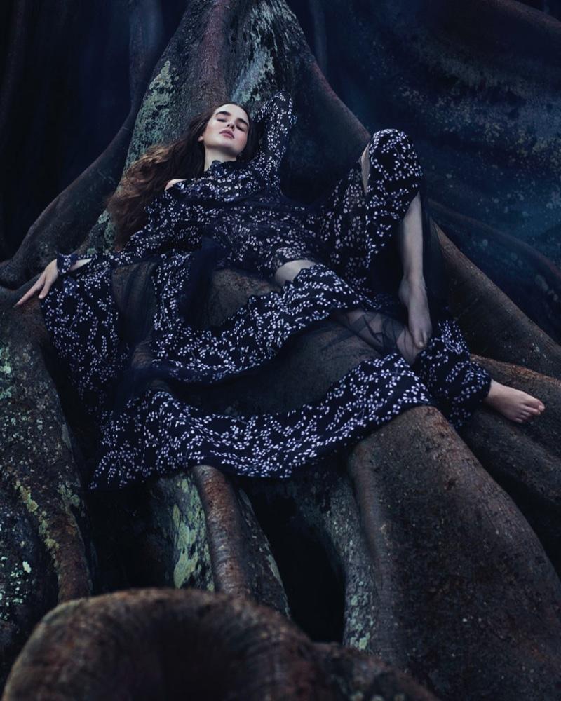 Going to the dark side, Ali Michael models Giambattista Valli silk georgette and tulle dress