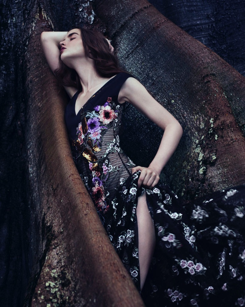 Flaunting some leg, Ali Michael wears Antonio Marras silk and lace dress with floral embroidery