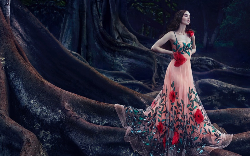 Blooming like a rose, Ali Michael poses in Gucci dress