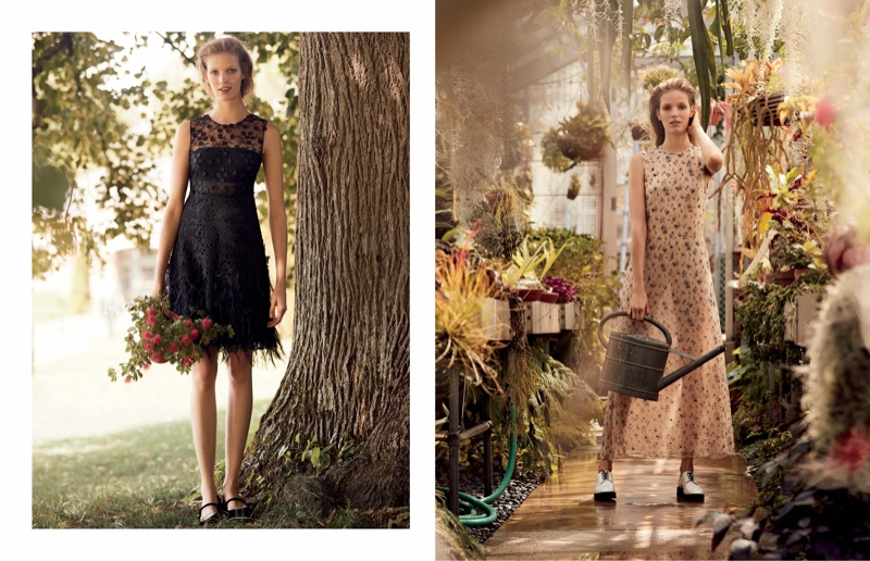 (Left) Elie Tahari Sleeveless Lace Dress (Right) Calvin Klein Collection Sleeveless Floral-Print Organza Gown