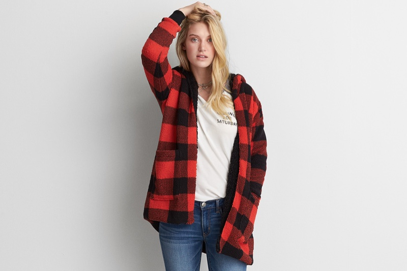 American Eagle Outfitters Faux Sherpa Hoodie in Plaid