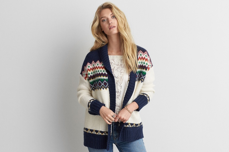 American Eagle Outfitters Patterned Pocket Cardigan