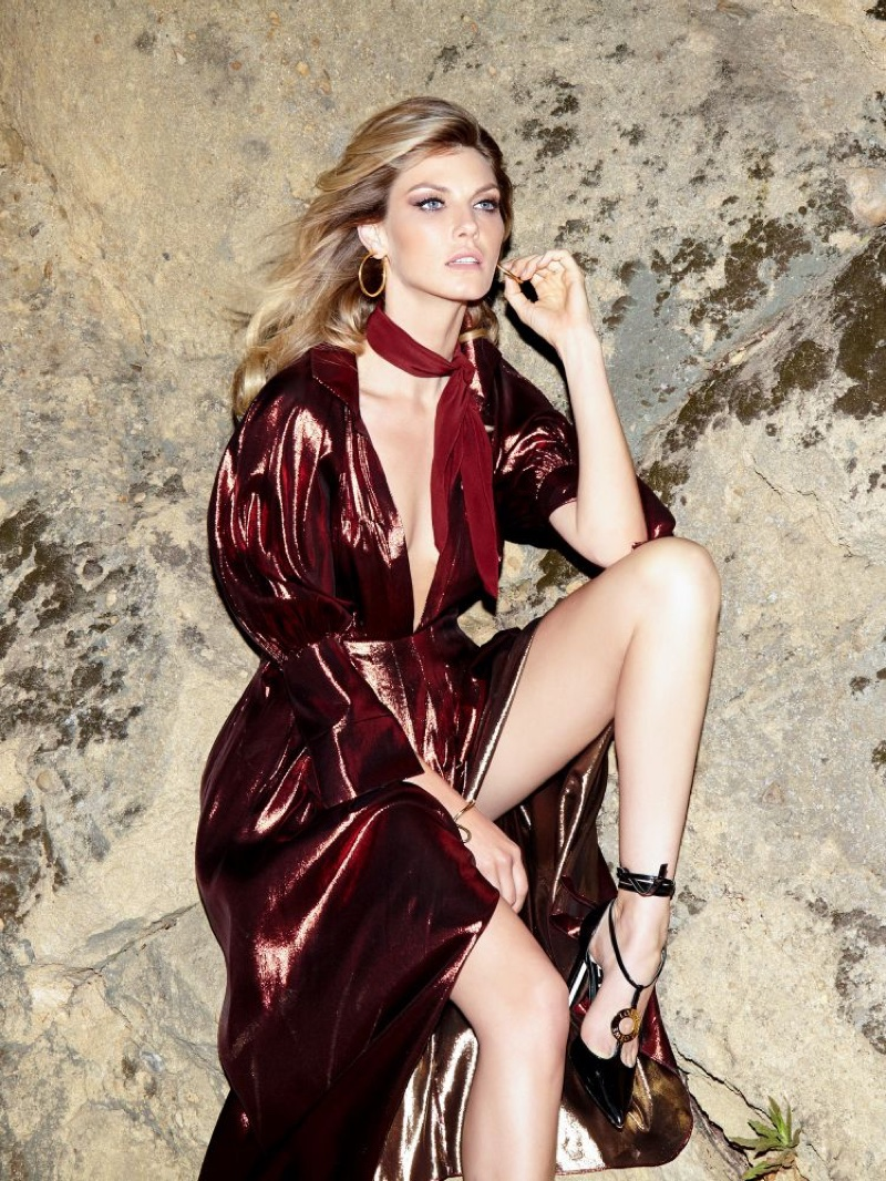 Angela Lindvall Stuns in Elegant Fashions for Evening Standard
