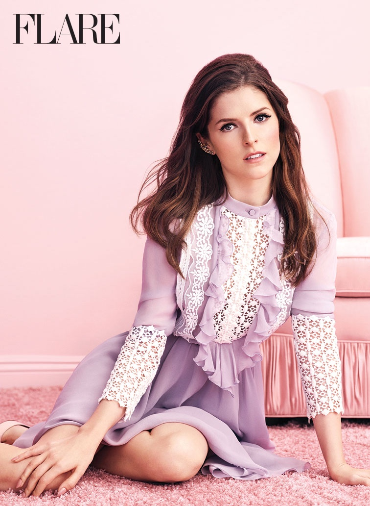 Looking pretty in pastels, Anna Kendrick wears Giambattista Valli dress with House of Emmanuelle ear cuff