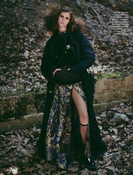 Antonina Petkovic Enchants in Moody Looks for ELLE Russia