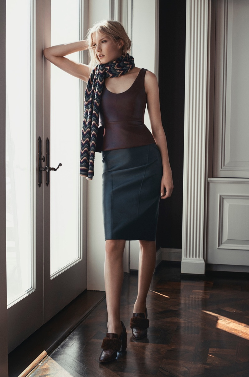 BCBG Max Azria Striped Stitch Scarf, Cladiana Faux-Leather Peplum Top and Natilie Faux-Leather Skirt