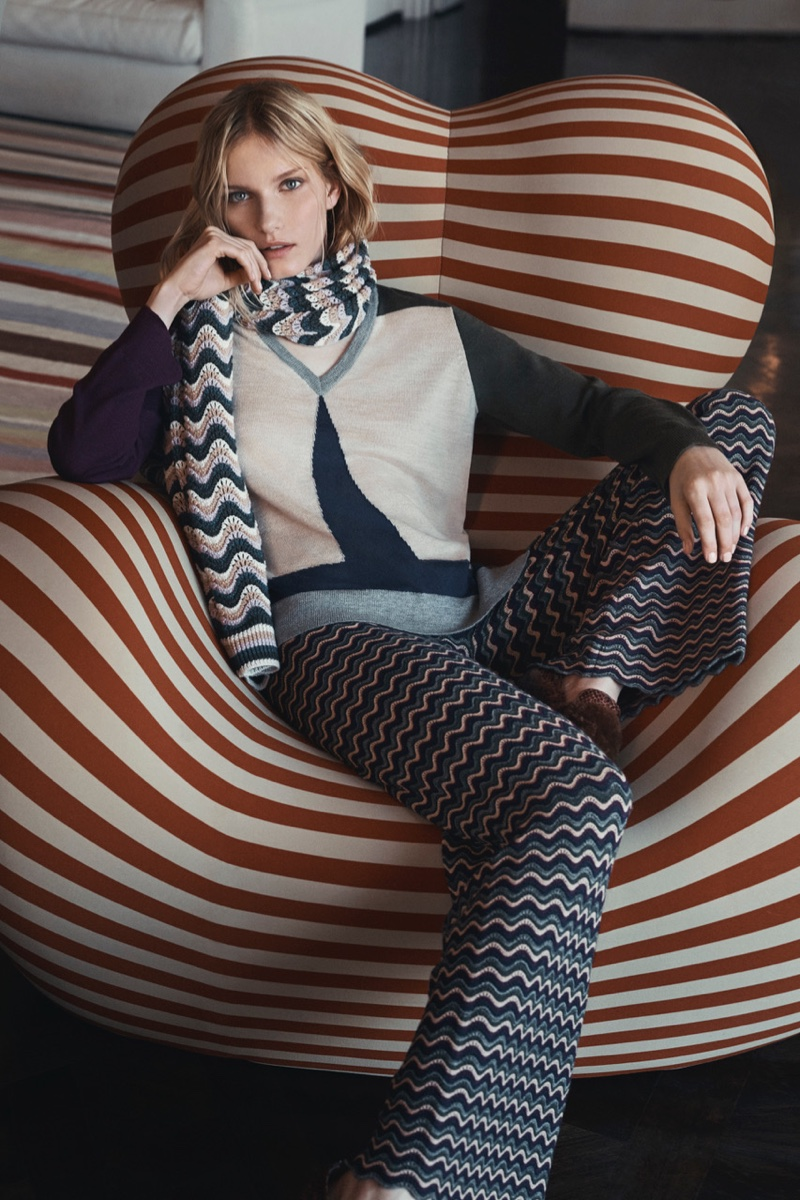BCBG Max Azria Striped Stitch Scarf, Patty Color-Blocked Sweater and Omar Pointelle Wide-Leg Pant