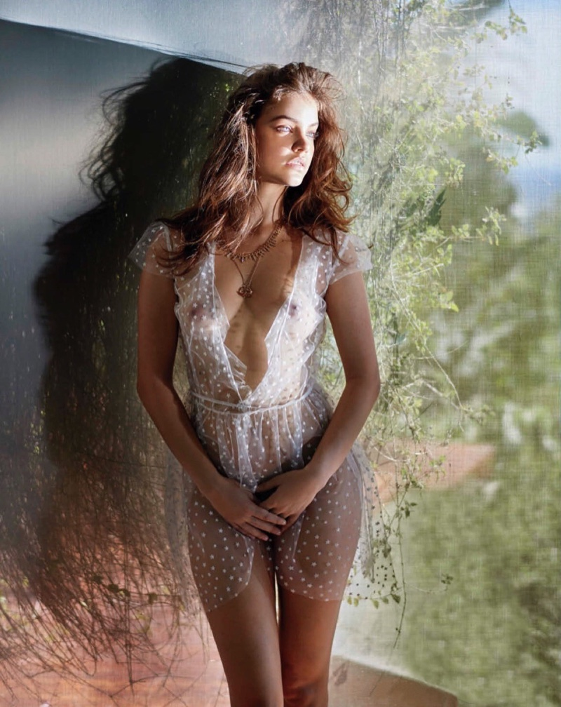 Showing some skin, Barbara Palvin wears sheer white lingerie