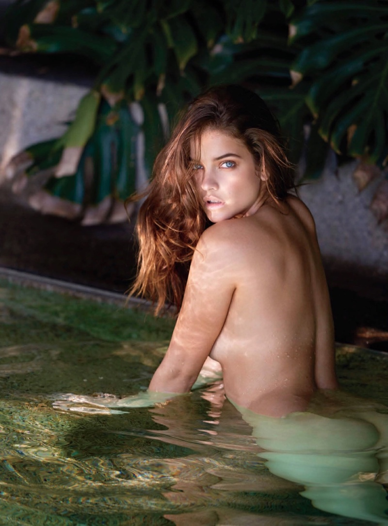 Model Barbara Palvin poses naked in a pool