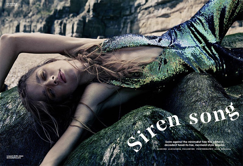 Beegee Margenyte stars in Stylist UK's November issue wearing an Ashish jumpsuit