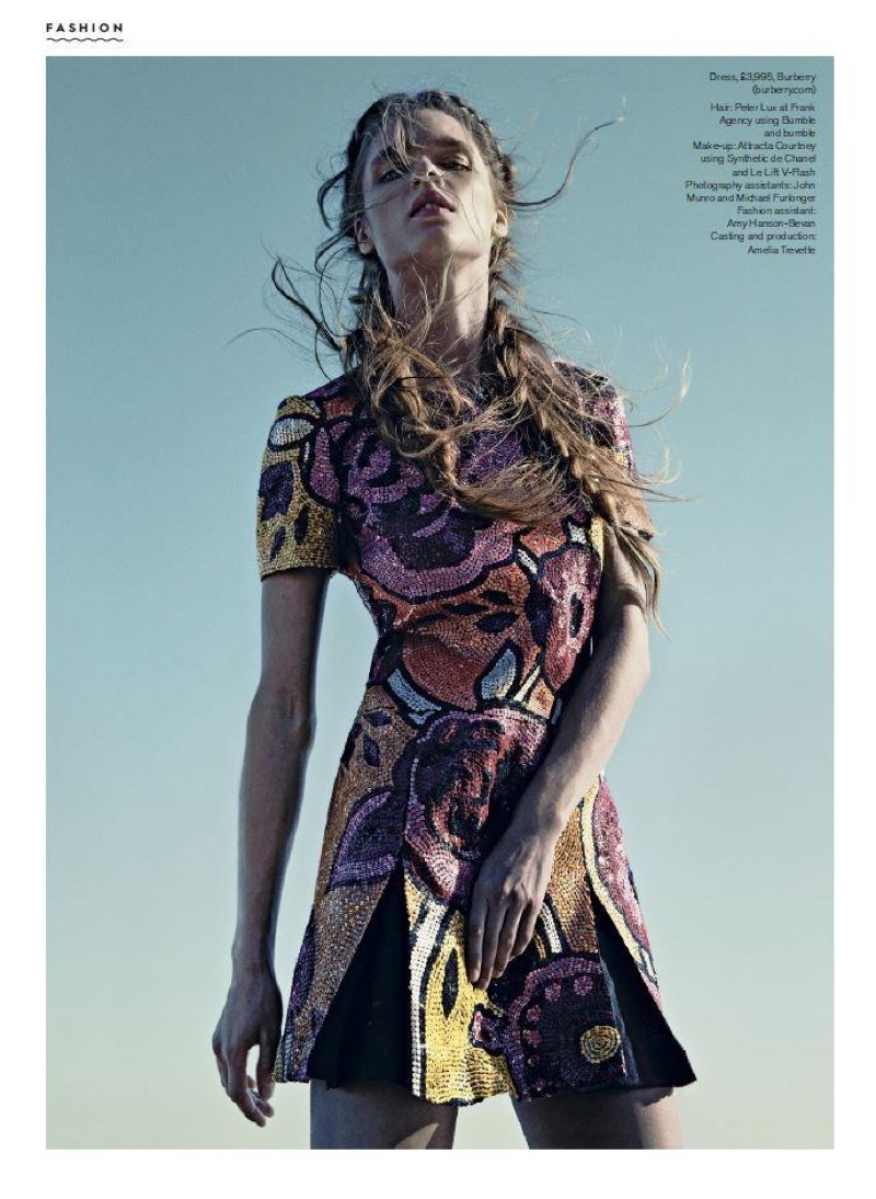 Embracing print, the model wears a Burberry dress