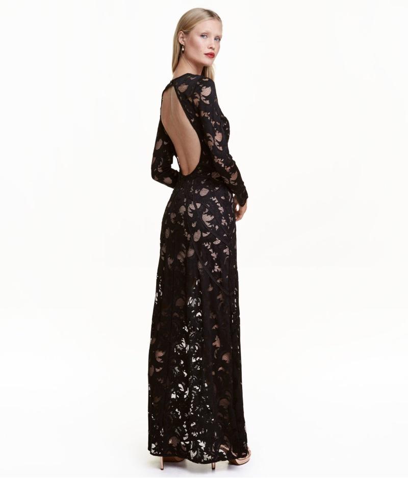 H&M Black Lace Maxi Dress