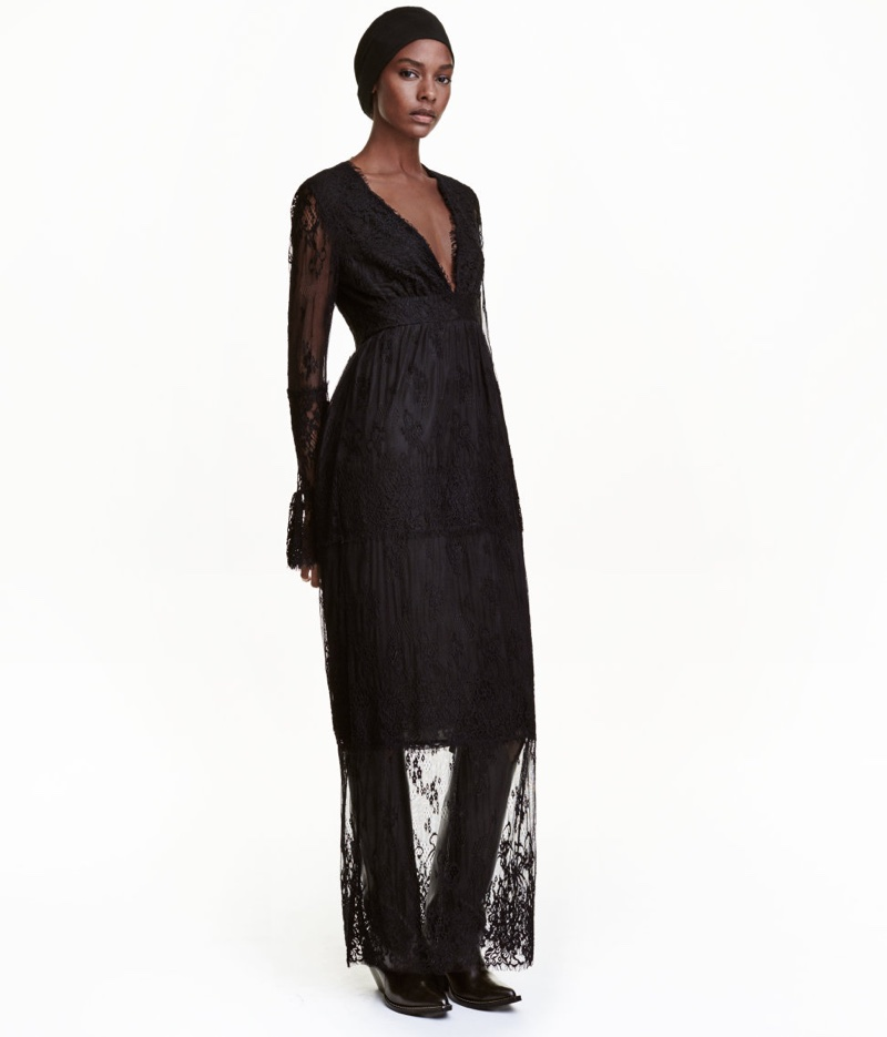 H&M Black Long Lace Dress