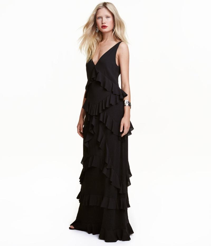 H&M Black Tiered Maxi Dress