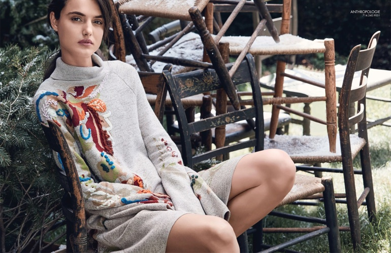 Model Blanca Padilla poses in Anthropologie sweater dress