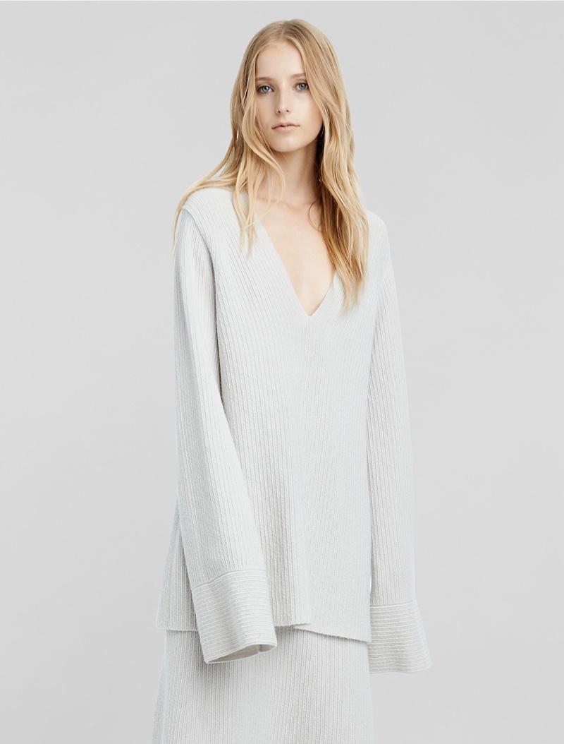 Calvin Klein Cashmere Bouclé Flared Sleeve Sweater