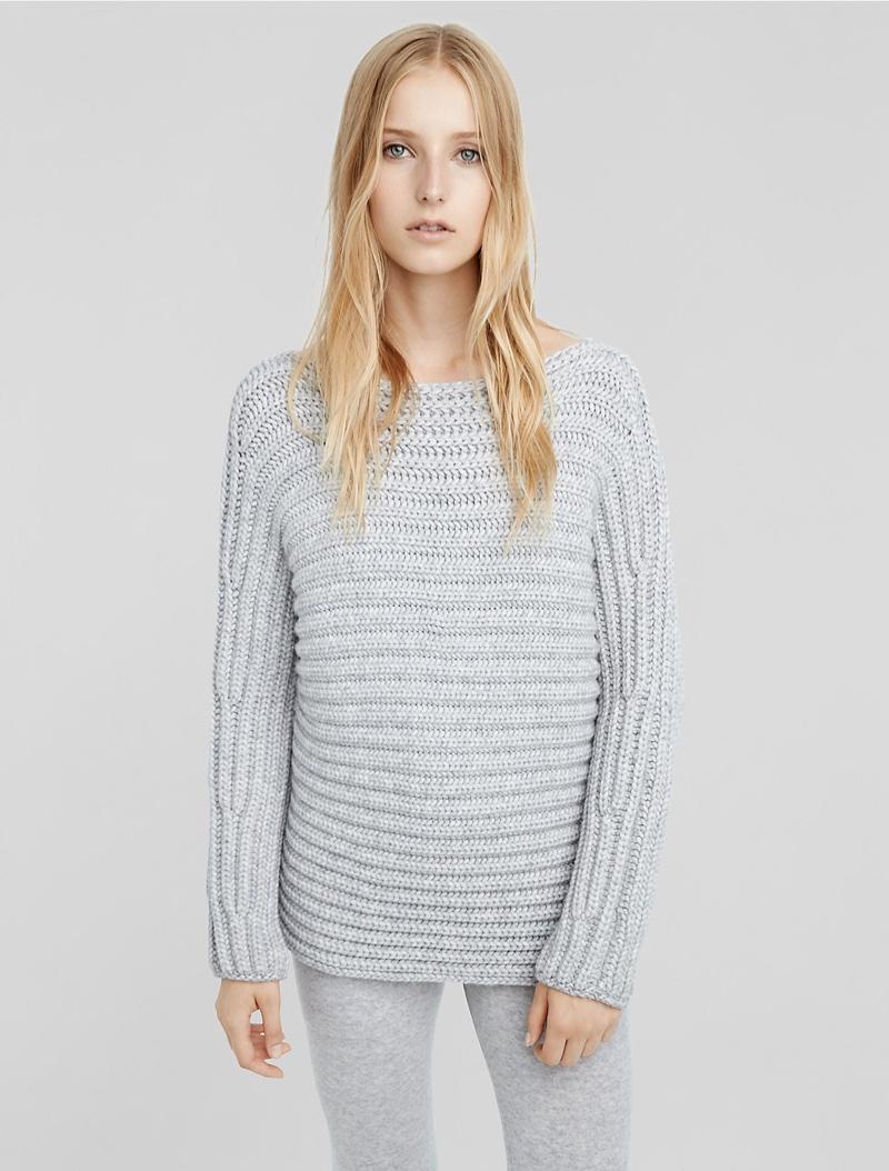 Calvin Klein Cashmere Horizontal Rib Bateau Neck Sweater